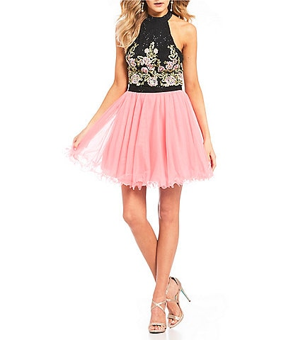 Jodi Kristopher Embellished Embroidered Top with Mesh Skirt Two-Piece Dress