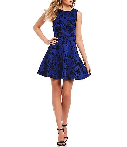 Jodi Kristopher Flocked-Floral-Pattern Fit-And-Flare Dress