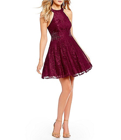 Jodi Kristopher High-Neck Lace Beaded Sides Fit-And-Flare Dress
