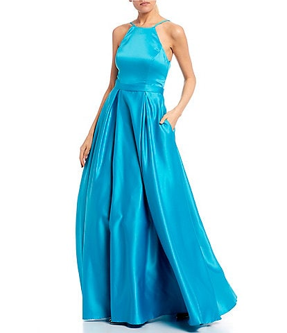 Jodi Kristopher High Neck Satin Ballgown