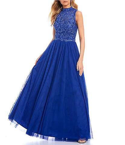 City Vibe Mock Neck Appliqued Bodice Ball Gown