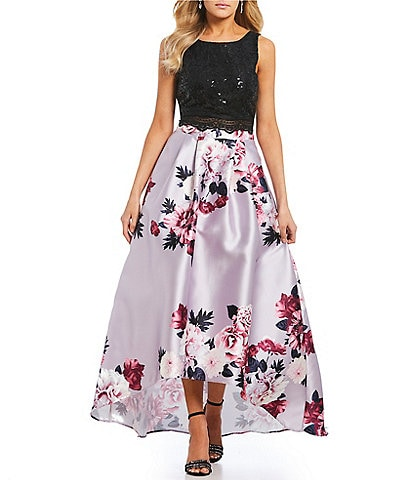 Jodi Kristopher Sequin-Embellished Lace Top Floral Skirt Two-Piece Long Dress