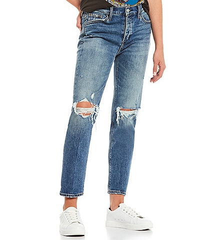 Joe's Jeans Scout Crop Distressed Mid Rise Straight Leg Jeans