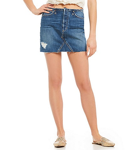 Joe's Jeans The Bella Raw Frayed Hem Denim Skirt