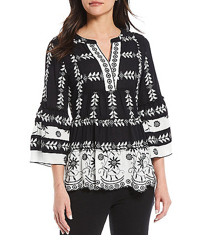 John Mark 3/4 Tiered Flounce Sleeve Embroidered Tunic