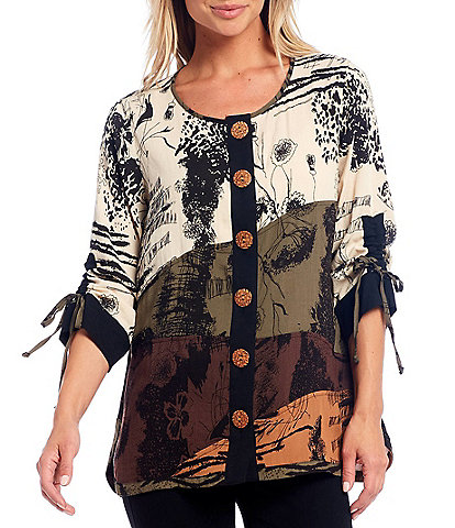 John Mark Abstract Print Scoop Neck 3/4 Cinched Sleeve Button Front Tunic