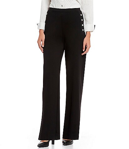 John Mark Button Detail Wide Leg Pull-On Pant