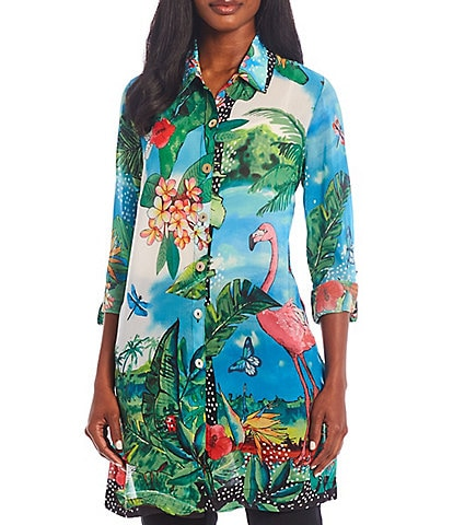 John Mark Button Front Georgette Tropical Print Side Slit Long Tunic