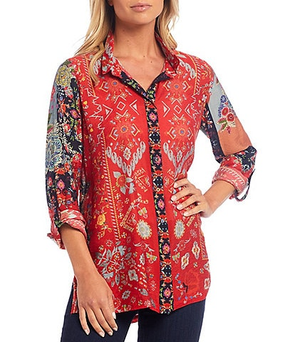 John Mark Crinkle Mixed Print Wire Neck Roll-Tab Sleeve Button Front Tunic