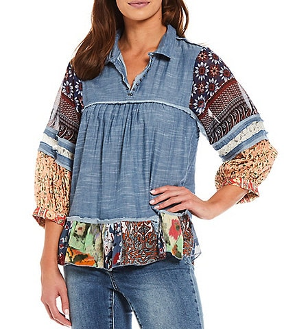 John Mark Double Faced Mixed Print Chambray Wire Collar 3/4 Peasant Sleeve Tunic