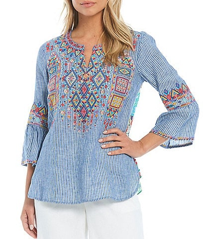 John Mark Embroidered Mixed Media Ruffle Back Tunic