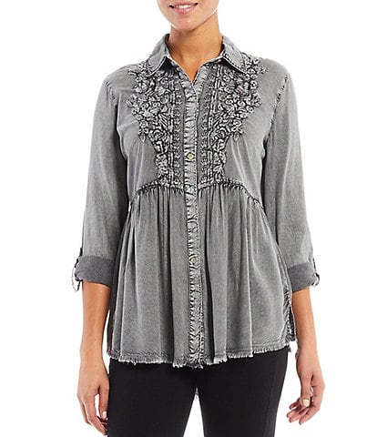 John Mark Embroidered Vintage Washed Button Front Roll-Tab Sleeve Point Collar Tunic