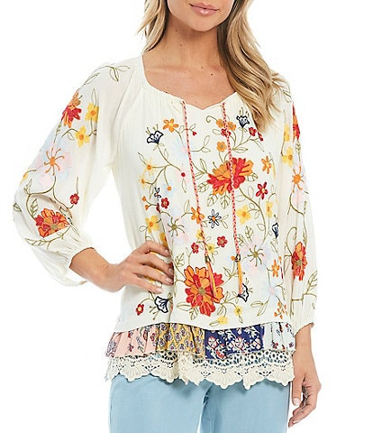 John Mark Floral Embroidered Tassel Tie Neck Peasant Top