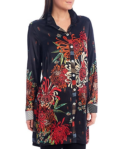 John Mark Floral Print Button Front Wire Neck Tunic