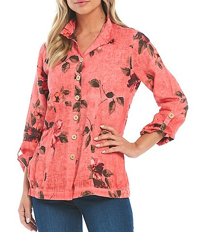 John Mark Floral Print Wire Neck Front Pocket Linen Tunic