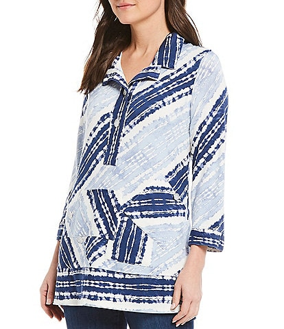 John Mark French Terry Tie-Dye Stripe Printed Tunic With Front Pocket