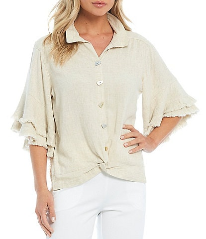 John Mark Lace Back Ruffle Fringe Sleeve Wire Neck Twist Front Blouse