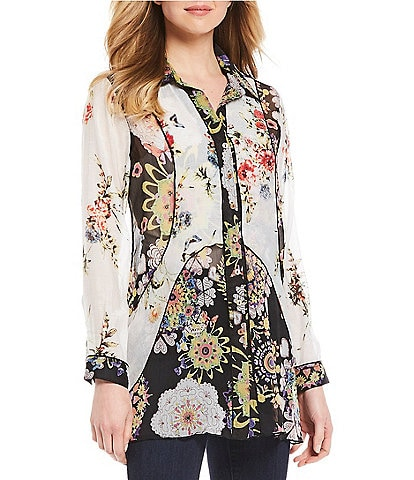 John Mark Mixed Media Floral Print Long Sleeve Crinkle Tunic
