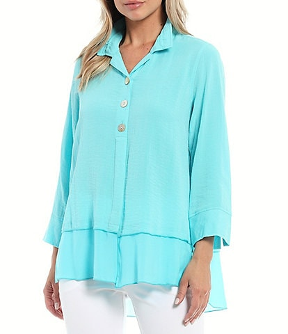 John Mark Mixed Media Pintuck Button Back Chiffon Trim Tunic