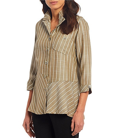 John Mark Mixed Stripe Button Front Tunic