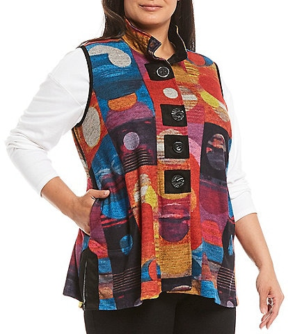 John Mark Plus Size Abstract Geometric Print Wire Neck Button Front Vest