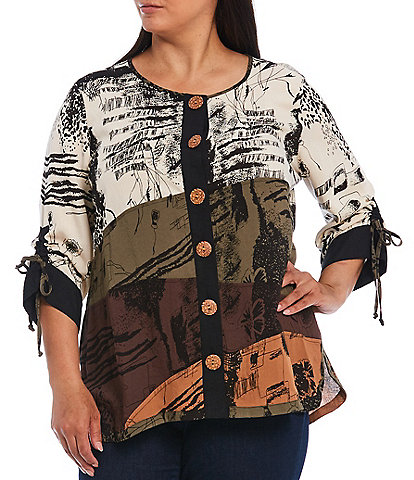 John Mark Plus Size Abstract Print Woven Crinkle Cinched Sleeves Button Front Tunic
