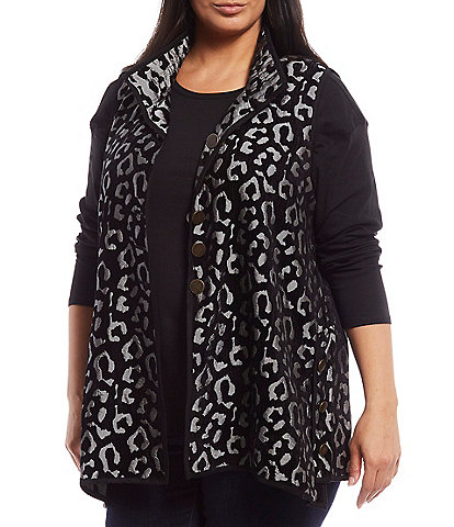 John Mark Plus Size Cheetah Print Reversible Flocked Button Front Vest