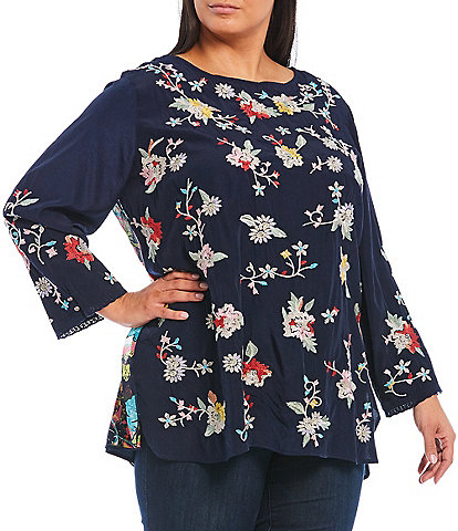 John Mark Plus Size Floral Embroidered Front 3/4 Sleeve Printed Split Back Tunic
