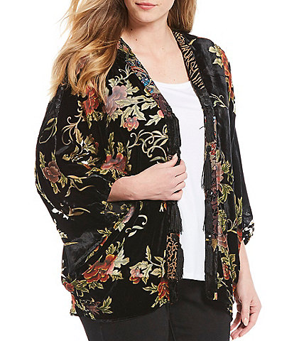 John Mark Plus Size Floral Print Burnout Velvet Tassel Trim Kimono Jacket