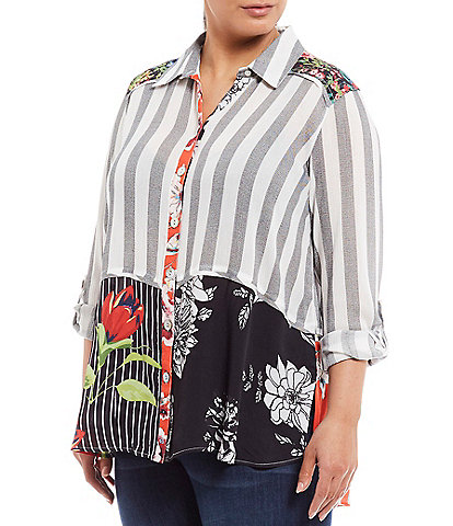 John Mark Plus Size Mixed Media Button Front Long Roll-Tab Sleeve Tunic