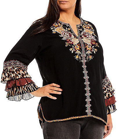 John Mark Plus Size Tiered Ruffle Long Sleeve Embroidered Split Round Neck Blouse