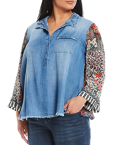 John Mark Plus Size Washed Lyocell Printed Flared Sleeves Grommet Trimmed Hi-Low Popover Tunic