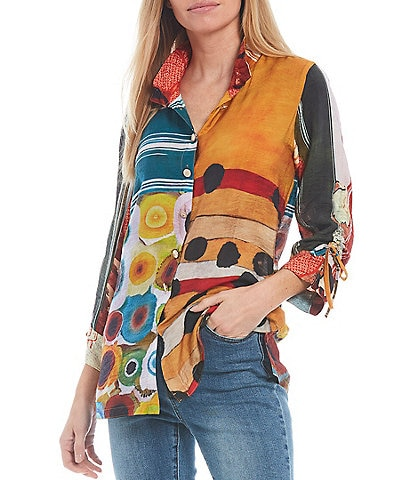 John Mark Printed 3/4 Cinch Sleeve Button Front Wire Neck Blouse