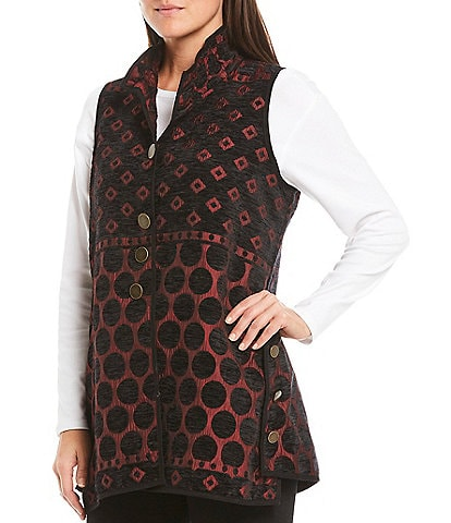 John Mark Reversible Dot Print Textured Wire Stand Collar Vest