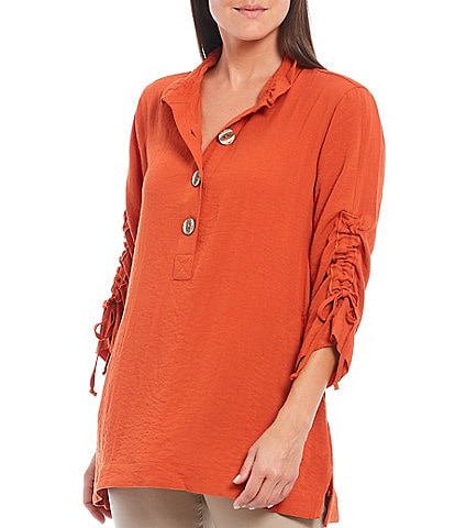 John Mark Ruched 3/4 Cinched Sleeve Button Front Wire Collar Tunic