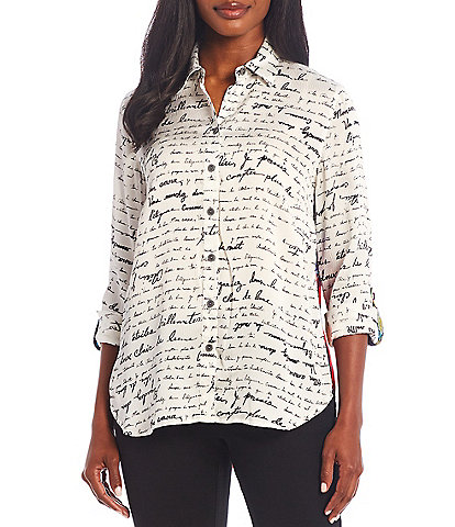 John Mark Scribble Watercolor Satin Contrast Back Tunic