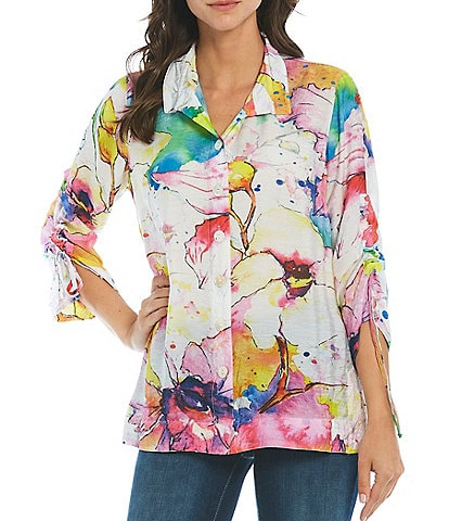 John Mark Watercolor Floral Print Button Front Cinch Sleeve Tunic