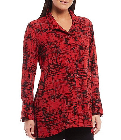 John Mark Woven Crinkle Abstract Print Button Front Swing Hi-Low Top