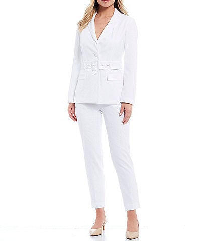 John Meyer 2 Button Notch Lapel Stretch Crepe Belted Jacket 2-Piece Pant Suit