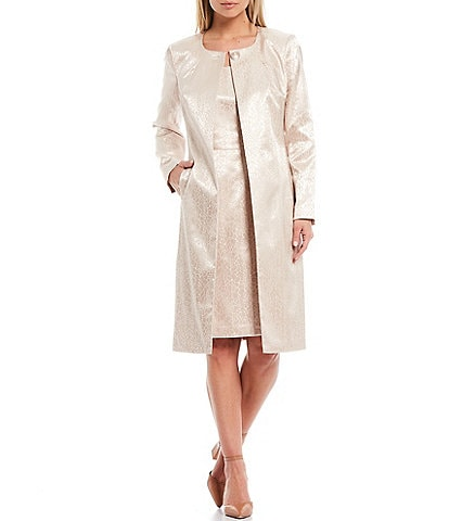 John Meyer Animal Jacquard Jewel Neck Topper Jacket 2-Piece Dress Suit