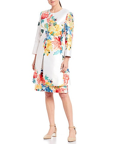 John Meyer Jewel Neck Printed Floral Mikado Coat 2-Piece Dress Suit