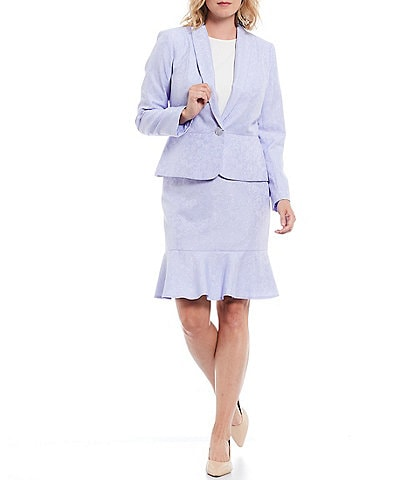 John Meyer Peplum One Button Shawl Collar Jacket 2-Piece Skirt Suit