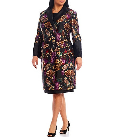 John Meyer Plus Mikado Print Coat 2-Piece Dress Suit