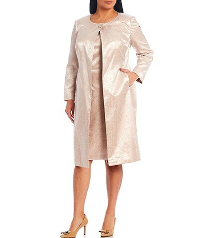 John Meyer Plus Size Animal Jacquard Jewel Neck Topper Jacket 2-Piece Dress Suit