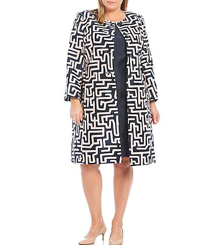 John Meyer Plus Size Jewel Neck Printed Shantung Jacquard Coat 2-Piece Dress Suit