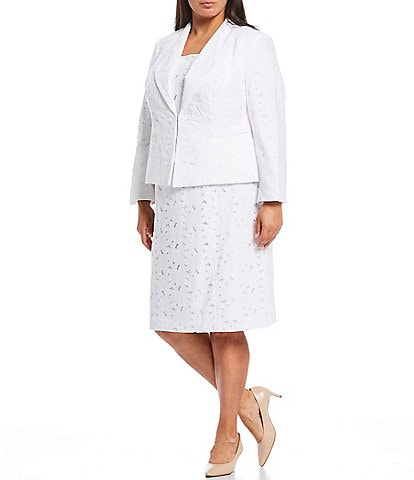 John Meyer Plus Size Lace Wing Collar Jacket 2-Piece Dress Suit