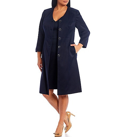 John Meyer Plus Size Solid Texture Topper 2-Piece Dress Suit