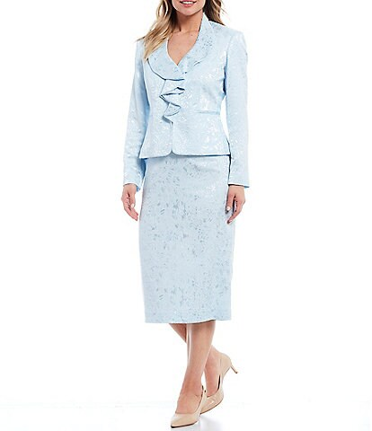 John Meyer Shiny Jacquard Ruffle Collar Jacket 2-Piece Skirt Suit