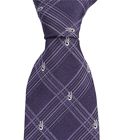 John Varvatos Peace Sign Checked Traditional 3.14#double; Silk Tie