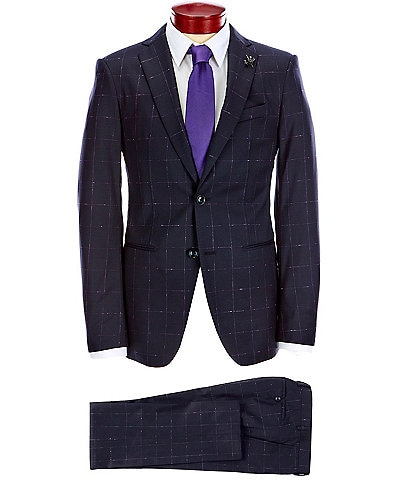 John Varvatos Signature Tailored Slim Fit Windowpane Wool Suit